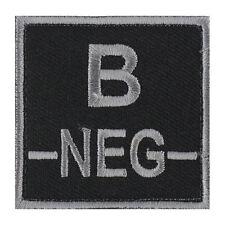 ÉCUSSON PATCH GROUPE SANGUIN B- / B NEG / B NÉGATIF avec DOS AUTO-AGRIPPANT
