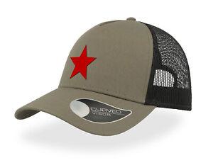 TRUCKER CAP - COMMUNIST RED STAR -  HALF MESH SNAPBACK - BASEBALL HAT - UNISEX