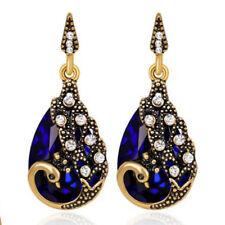 Vintage Style Peacocks Rhinestones Crystal Bronze Women Bridal Evening Earrings