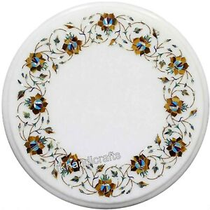Inlay Art at Border Coffee Table Top White Marble Bed End table Size 15 Inches