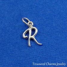 925 Sterling Silver Letter R Charm - Initial Script Cursive R Alphabet Charm NEW