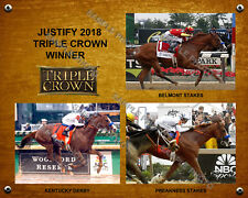 JUSTIFY 2018 TRIPLE CROWN WINNER DERBY PREAKNESS BELMONT 8X10 PHOTO COLLAGE