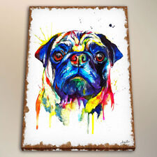 Art Print on Canvas Colorful Pug for Kids Room Decor Watercolor Painting  24x32