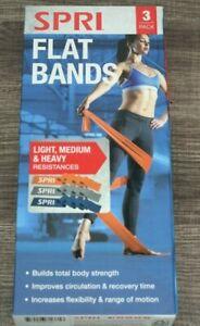 SPRI Flat Band Kit, 3 pack (Light, Medium, Heavy) Workout Bands, PT, resistance