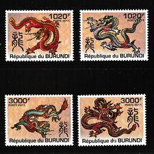 Dragons mnh set of 4 stamps 2011 Burundi #1016-9 Year of the Dragon (2012)