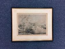 Rex Brasher Bird Print Moonlite Haven Tundra Swans Litho Plate Pencil Signed