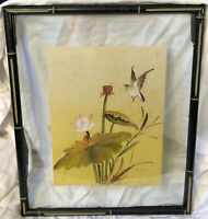 Vintage Framed Peter Chan Watercolor On Silk Painting Flowers And Bird Chinese
