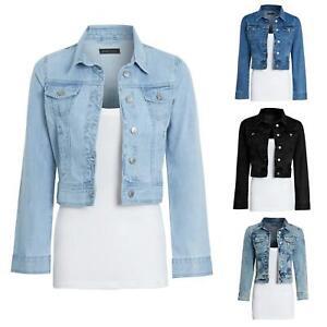 Womens Denim Blue Jacket Ladies Crop Style Button Up Vintage 8-16