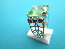 Lovely Silver Natural Purple And Green Amethyst Ring Size N 1/2, US 7 (rg1838)