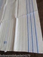 schönes altes Leinen Geschirrtuch Handtuch Tischläufer blaue Streífen Mono (211