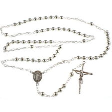 Sterling Silver Rosary Beads with Miraculous Medal Junction