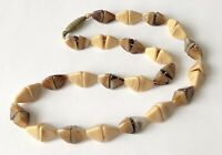 """Vint Antique Shade of Brown Molded Glass Pyramid Bead Choker Necklace 14"""" Rare"""
