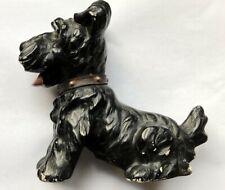 """Vintage Chalkware Scottish Terrier 6"""" Figurine w Leather Collar Scottie Dog"""