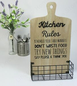 """""""Kitchen Rules"""" Slogan Storage Rack - Wall Mountable with Wire Basket."""