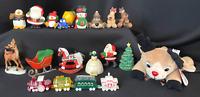Vintage Hallmark Christmas Plastic Figurines Santa Train Rodney Reindeer Snowman