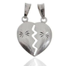 Ciondolo cuore divisibile mm 18x20 bombato in argento 925 rodiato con stella