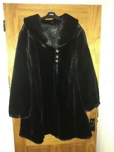 BNWT ANN HARVEY PLUS CURVE UK 22 LUXURY BLACK FAUX FUR COAT JACKET