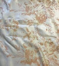 Peach & White Roses Floral - Faux Silk Brocade Fabric 57""