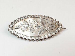 Antique Hallmarked Silver Leaf Engraved Brooch 1887 Hamilton & Inches