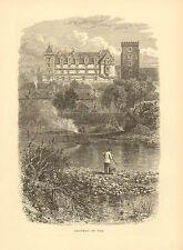 France, Chateau De Pau, Trout Fisherman, Vintage, 1878 Antique Art, Print.