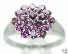 Solid 925 Sterling Silver Genuine Tourmaline Cluster Ring Sz- 7 '
