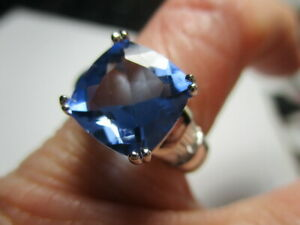 STERLING SILVER ROSS SIMONS CREATED BLUE BERYL CUBIC ZIRCONIA RING SIZE 7