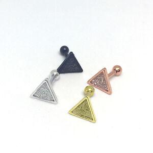 316L Steel Triangle Glitter effect Labret /Tragus /Ear piercing  Lip Bar