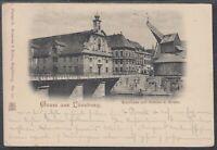 45585) AK Gruß aus Lüneburg Kaufhaus mit Brücke und Kran 1898