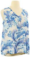 Belle by Kim Gravel XL Blue Tropics Sleeveless V-neck Lined Chiffon Blouse