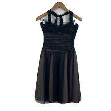 Review Womens Dress Size 6 Halter Neck Layered Black Tulle and Coffee