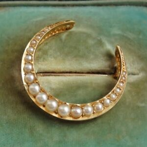 Antique Victorian 15ct Gold Pearl Crescent Brooch c1885 in Original Leather Case