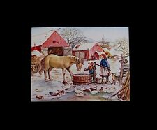 RARE Vintage Tasha Tudor Xmas Greeting Card Children & Friends by the Waterpump