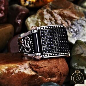 Unique Men Black Swarovski Wedding Band Alternative Silver Magic Engagement Ring