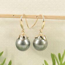 14k Yellow Gold Dangle Hook Earrings Genuine Tahitian Pearl & Diamonds TPJ