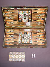 Vintage Wood Inlay Marquetry Folding Backgammon Checkers Board 30 Pieces 4 Dice