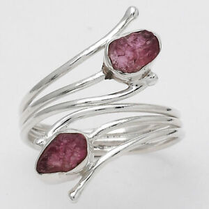 Adjustable - Pink Tourmaline Rough 925 Sterling Silver Ring s.10 Jewelry 8151