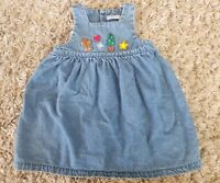VINTAGE HARTSTRINGS TODDLER BABY GIRL 24 MO BLUE JEAN DENIM CHRISTMAS DRESS