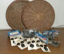 "Antique Sewing Basket Wicker Woven 10"" Diameter + Teddy Bear Craft Items Box 21"