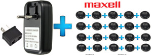 20 x Maxell 3V ML2032(Loose) Lithium Rechargeable CMOS Battery AND 1 x Charger