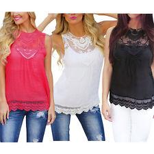 Ladies Casual Lace Tank Top Short Sleeveless T-shirt Vest Summer Blouse Chiffon