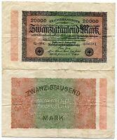 German Old 1923 Banknote 20 000 Mark Reichsbanknote Money - Germany Inflation