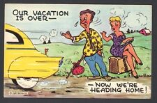 Humor Postcard Couple Hitch Hiking Our Vacation is OVER Now We're Heading HOME!