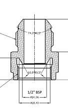 "AN-10 (10AN) Male to 1/2"" BSP BSPP Female Adapter - Mocal / Setrab Oil Cooler"