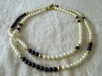 """Vintage Signed """"Dell 'Olio"""" Necklace, Faux Glass Pearls, Black & Gold Beads"""