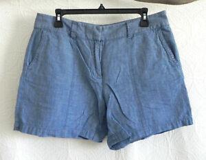 Loft Shorts 100% Linen Blue Pockets Size 8 (Fits US L)