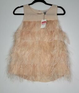 NEW Olivia Palermo Chelsea 28 Size M Pink Silk Ostrich Feather Tank Blouse