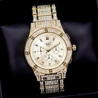 Iced Watch Bling Rapper Simulated Diamond Metal Band Gold Hip Luxury Screw Hot