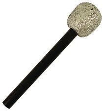Silver Glitter Fake Microphone 60s 70s Pop Rock Star Elvis Karaoke Fancy Dress