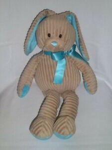 "GANZ 17"" Plush LOPPY BUNNY Rabbit Tan BLUE RIBBON Ears Feet Ribbed Lg Stuffed"