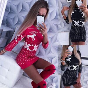 Womens Fitted Basic Bodycon Ladies Christmas Wrap Xmas Tunic Stretch Mini Dress